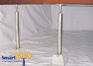 Crawl space structural support jacks installed in Decatur