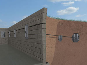 A graphic illustration of a foundation wall system installed in Mulberry